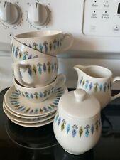 "Carefree True China Syracuse ""NORDIC"" Design 4 Tea Cups/Saucers, Sugar & Creamer"