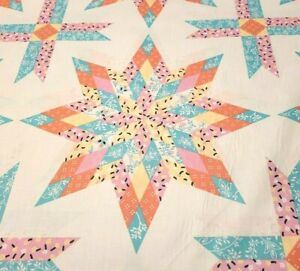 Queen Lone Star Cheater Quilt Top Fabric 90x90 Teal Coral Pink Yellow