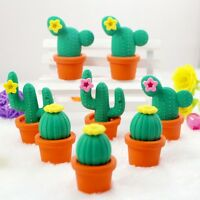 Cactus Rubber Pencil Eraser Novelty Students kids Stationery Gift Toy NEW