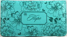 Checkbook Cover Turquoise Hope Floral Debossed Brand NEW