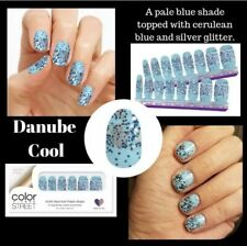 Color Street Danube Cool Blue - Retired- 100% Nail Polish Strips Glitter dipped