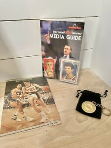 Autographed Drazen Petrovic 1990 Franz Collectors card, Media Guide, &Key Chain