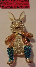 NWT BETSEY JOHNSON EASTER RABBIT TUXEDO WITH SATCHEL CRYSTAL BROOCH PIN