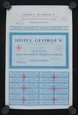 Action au porteur 10 titres HOTEL GEORGES V 1939 bleu bond share