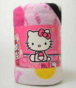 "Sanrio Hello Kitty BLANKET 50"" x 60"" FLEECE THROW Gift Birthday Gift Pink Flower"
