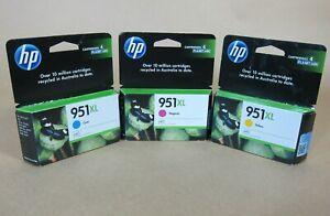 [1320*] HP 951XL CYAN, MAGENTA and YELLOW INKS ( RRP>$162 )