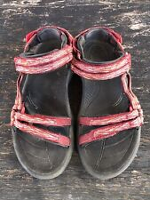 Teva Shoc Pad Red Black Womens Hiking Fishing Ankle Strap Sport Sandals Size 6