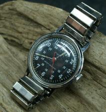 Vintage 1973 Timex 24hr Military Style Black Wrist Watch British Made (G3)