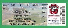 Sammy Sosa Home Run #500 Unused Mint Ticket 4/4/2003  Reds Cubs