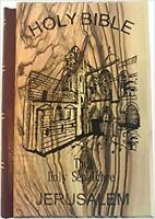 Jerusalem Bible, Olive Wood Cover carved with with Holy Sepulchre Church
