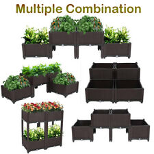 4pcs Plant Raised Bed Garden Flower Planter Elevated Fruit Vegetable Plant Box