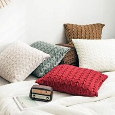 Bone Knitted Cushion Covers Home Decorative Pillow Beige White Grey Coffee Solid