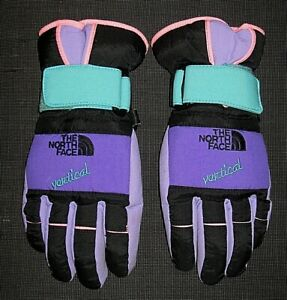 VINTAGE 80s 90s THE NORTH FACE GORE-TEX TRICOLOR NYLON GLOVES MENS WOMENS SMALL