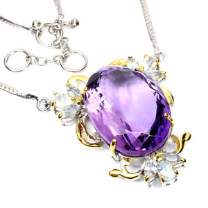 Handmade Natural Oval Amethyst 45ct Aquamarine 925 Sterling Silver Necklace