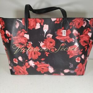 VICTORIA'S SECRET BLACK FLORAL RED ROSES PURSE HANDBAG LARGE TOTE SHOULDER BAG