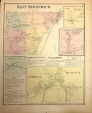 Antique Map East Greenwich, Ri - Dg Beers Atlas of the State of Ri 1870