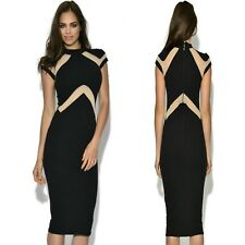 Sz S 8 10 Cap Sleeve Black Nude Sexy Formal Cocktail Party Slim Fit Midi Dress