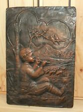 Antique hand made wall hanging copper plaque boy shepherd flute player