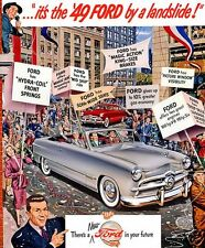 """5x7""""photo REPRINT """"IT'S THE 1949 FORD"""" PARADE ADVERTISING  CARD GLOSSY RAGTOP"""