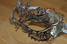 Venetian Silver  Metal Mask Filigree Masquerade Red Diamante Ball. Prom/Ball. UK