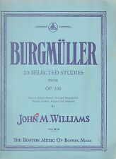 Burgmuller 20 Selected Studies Piano John M Williams Blue Book c1933 Music Folio
