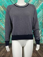 Theory 38 Women Caranda Extended Pullover Sweater Large Navy White Textured Knit