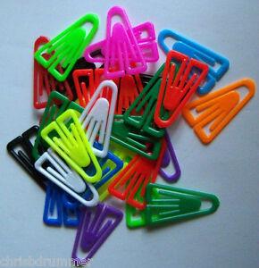 25 Laurel Plastic Paper Clips 35mm, Assorted Colours, Non-Magnetic, Ref: 1303-98