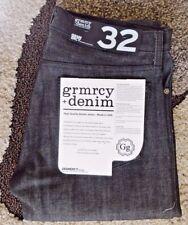 NWT Gramercy Mens Stretch Raw Slim Jeans Denim 32x34 Black Straight Leg