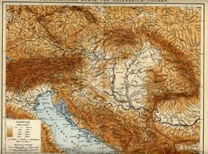 1902 = REGNO AUSTRO-UNGARICO fisica = Antica Mappa = OLD MAP