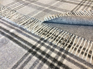 100% pure lambswool BRONTE sofa throw blanket - CROFT HERITAGE GREY T0101/B02