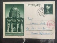 1944 Vienna Austria Germany Postcard Cover Domestic Used Berlin Schloss Museum