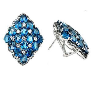 Natural London Blue Topaz White Topaz 925 Sterling Silver Stud Earrings D5544
