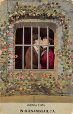 """Doing Time"" in Shenandoah Pennsylvania~Couple Behind Bars~Rose Trellis~1912"