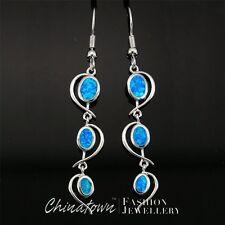 Heart Ocean Blue Fire Opal Oval Inlay Silver Jewelry Dangle Drop Earrings