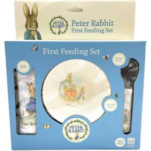 NEW Beatrix Potter Peter Rabbit First Baby Feeding Bib Bowl Spoon 3 Pc Gift Set!