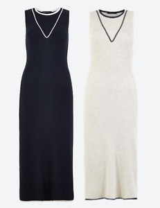 M&S Marks Spencer Tipped Knitted Maxi/Long Dress Navy Blue or Oatmeal Beige BNWT