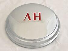 Austin Healey Frogeye Sprite Chrome Hub Cap (Red `AH`) x 4.