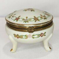 Vintage Porcelain Footed Trinket Box Hinged Lid Moriage Hand Painted Gilding