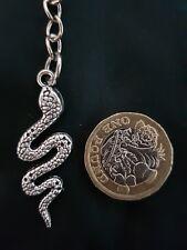 Large Silver Reptile Snake Key Chain Charm Animal Zoo Pet 3D Pendant
