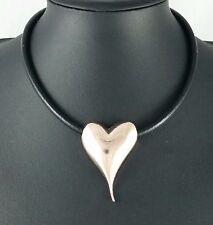 Modern Black Leather Cord Rose Gold Pointy Heart Necklace Lagenlook Jewellery