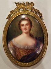 Antique Hand Painted Artist Sign Miniature Portrait Porcelain Gilt Bronze Frame