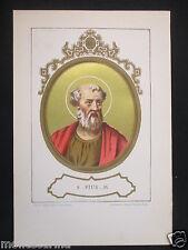 1879 SAN PIO I PIUS ANTICA STAMPA CROMOLITOGRAFIA PAPA PAPI POPE VATICANO D246 m