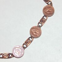 "Marked solid copper mini ""Indian head penny"" medallion paperclip chain bracelet"