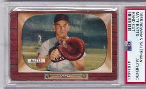 1955 Bowman Baseball Card Salesman Sample Hand Cut - Matt Batts - PSA Authentic