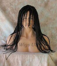 MENS DREADS Wig Black Dreadlock Full Cap Long bangs Goth Rasta Reggae Wigs US