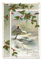 Vintage 1909 Marked A Happy New Year To You Postcard with One Cent Stamp