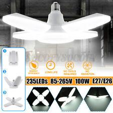 100W 112Led 4 Blades Garage Light Bulb Ceiling Fixture E27 Workshop Deformable