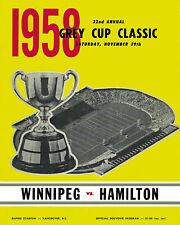 1958 Grey Cup Poster of Game Program Cover (Hamilton vs Winnipeg) - 8x10 Photo