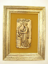 Vintage Mid-Century Metal Relief Grecian Mother Child Wall Hanging Ethan Allen