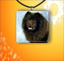 """DOG BLACK CHOW CHOW GLASS 1"""" PENDANT NECKLACE"""